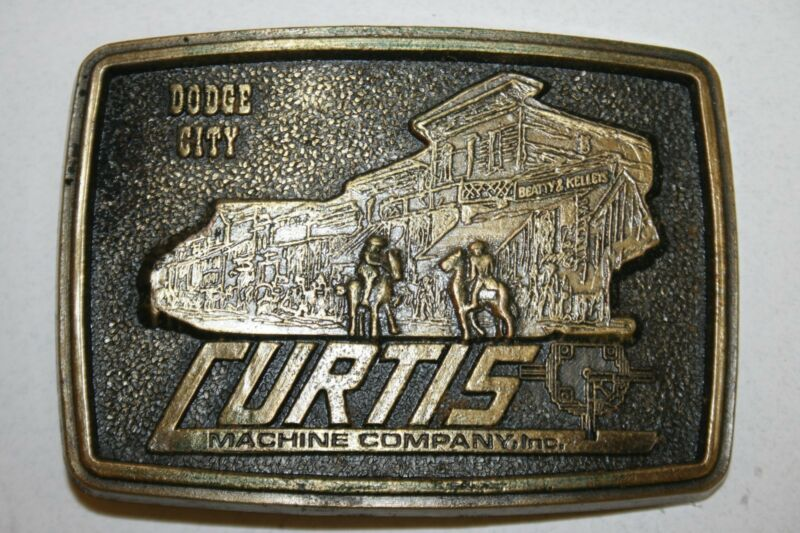 Vintage 1977 Curtis Machine Company Inc Dodge City Gear Drives Brass Belt Buckle