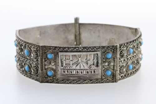 """Turkey TK 900 Silver Vintage Turquoise Picturesque Mosque Hinged Bracelet - 6.5"""""""