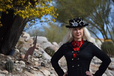 Steampunk Women Top Wool Hat Halloween Costume Cosplay Goggles Doeskin