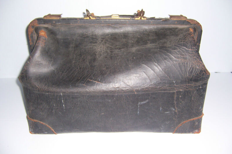 ANTIQUE BLACK LEATHER LARGE MEDICAL DOCTOR BAG