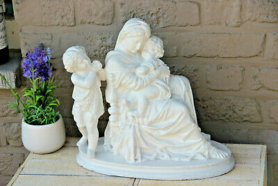Antique French religious chalkware Statue madonna mary christ saint john baptist