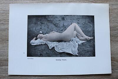 Träume Blatt (Jugendstil Kunst Blatt 1905 Erotik Frau UNRUHIGE TRÄUME Akt Nude Erotic Risque)