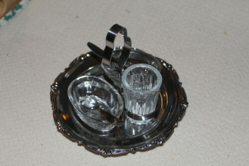 Small Vintage Glass Condiment Set in Metal Caddy Stand w spoons