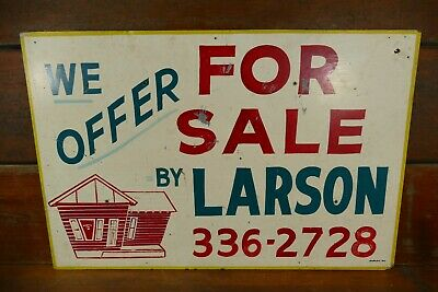Vintage Larson Real Estate House For Sale Hand Painted Wood Sign House Graphics