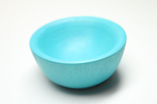 Tiny Teal Spinning Bowl - Natural Wood Spinning, Children