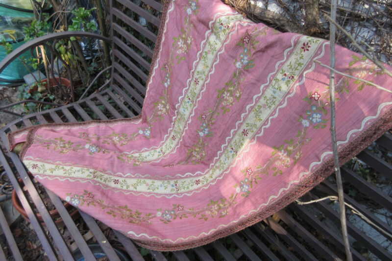 Silk Brocade  table runner  pink precious  antique  from France  GORGEOUS