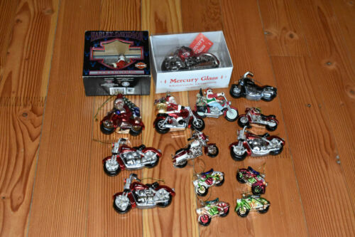 15 HARLEY DAVIDSON GLASS MOTORCYCLES CHRISTMAS ORNAMENTS
