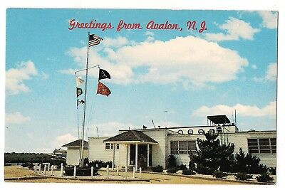 Greetings AVALON YACHT CLUB Mast Flags New Jersey Postcard NJ Boating Boats