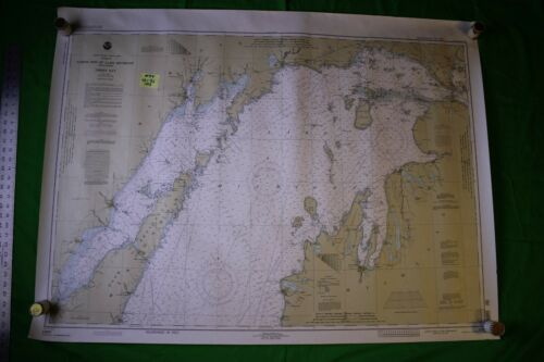 Lake Michigan North End - Green Bay 48x36 Vintage 1993 Nautical Chart/Map