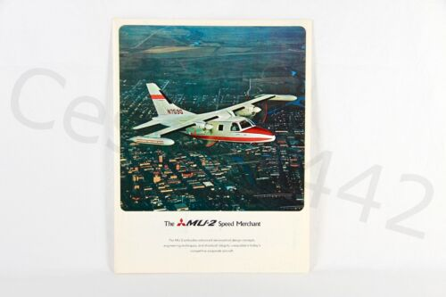 MITSUBISHI MU-2 Brochure Vintage OEM Fold Out Color Rare Collectable Gift