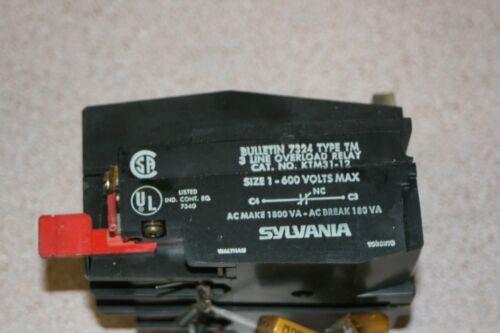 Sylvania KTM31-12 Overload Relay Contactor Bridgeport Milling CNC Free Shipping!