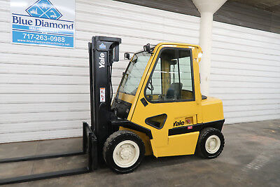Yale Gdp080 8000 Pneumatic Tire Forklift Diesel 3 Stage Sideshift Cab