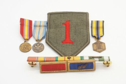 Vietnam War 1st Infantry Division The Big Red One Patch, Medals, Ribbon Bars Lot