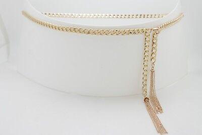 Women Gold Metal Chain Fashion Belt Hip Waist Tassel Fringes Buckle Size XS S M