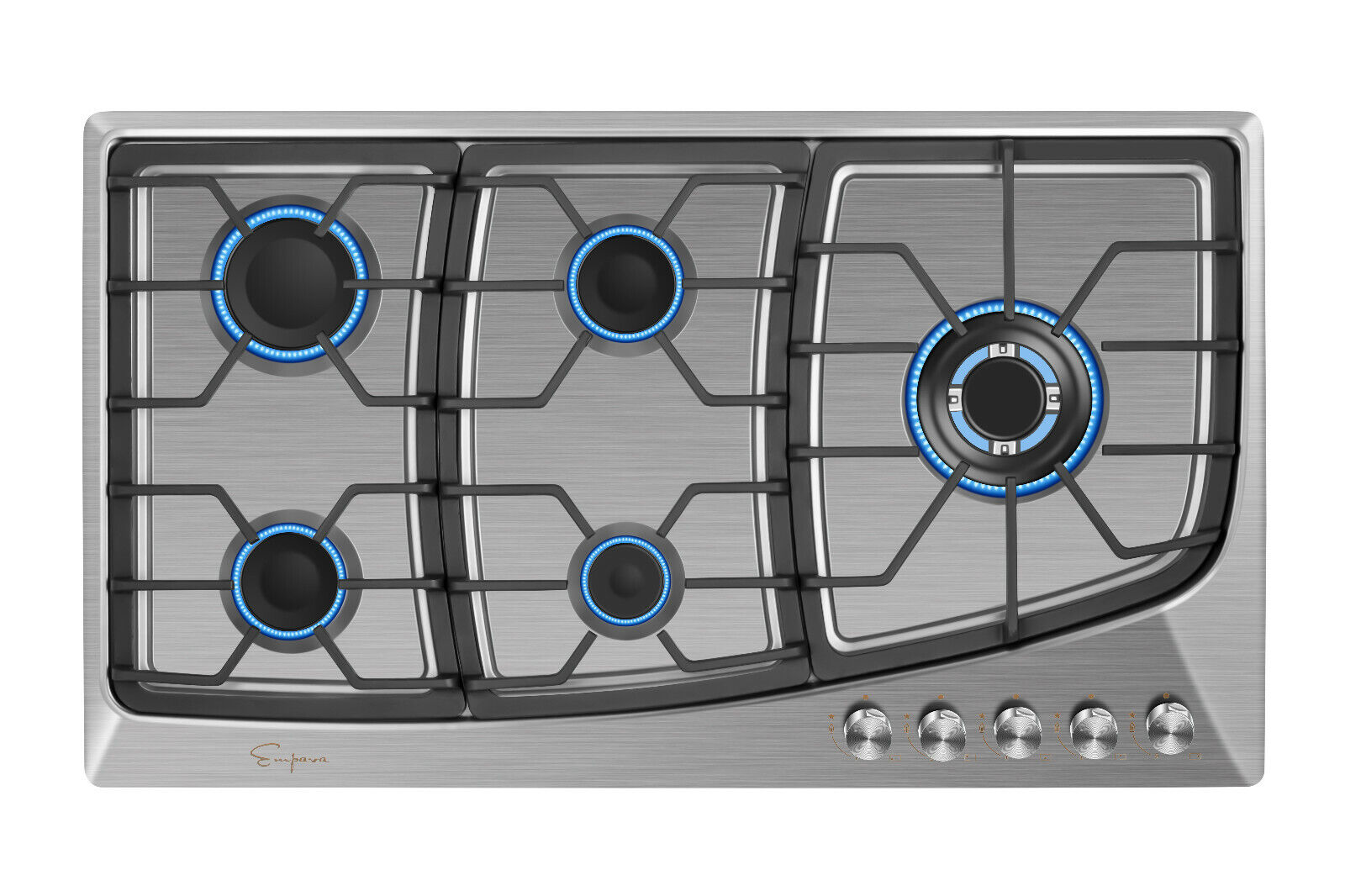 """Empava 36"""" Gas Stainless Steel Cooktop 5 Burners Cooking Bui"""