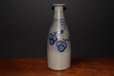 Rowe Pottery Vintage Salt Glaze Ale Bottle Cherries with Flag Banner Design 1993