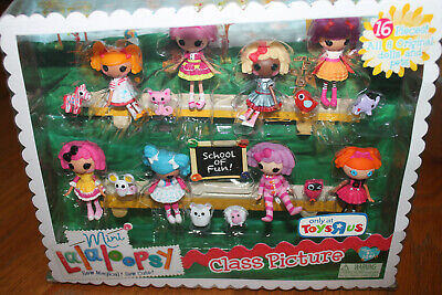 Mini LALALOOPSY 16 pc CLASS PICTURE 8 original DOLLS + PETS Toys r Us EXCLUSIVE