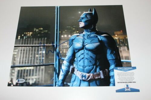 CHRISTIAN BALE SIGNED 'THE DARK KNIGHT' 11x14 MOVIE PHOTO BECKETT COA D BATMAN