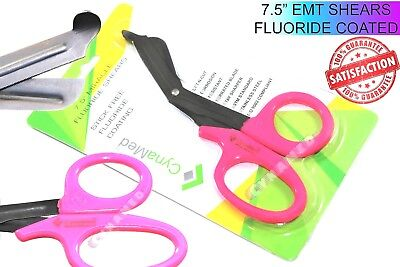 Paramedic Emt Shears 7.5 Fluoride Coated Serrated Pink Rings Premium Medical