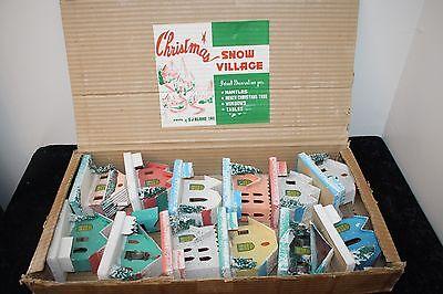 Vtg Putz Mica Houses Japan Christmas Snow Village original Box 12 Qty S.J. Blume