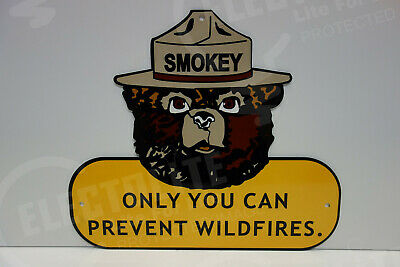 "FOREST SERVICE SMOKEY BEAR METAL LICENSE PLATE  6/""X12/"" ONLY YOU CAN PREVENT U.S"