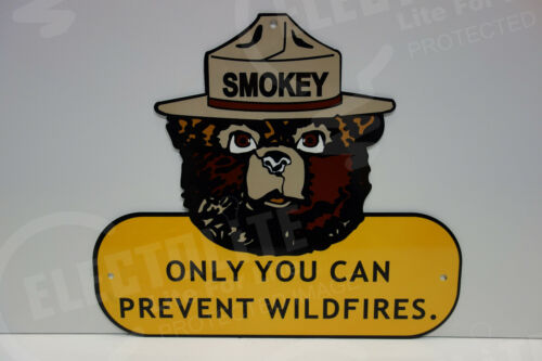 """SMOKEY THE BEAR STEEL ENAMEL ONLY YOU CAN PREVENT WILDFIRES SIGN 12""""X 14"""""""