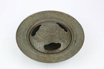 Antique Cast Iron Incense Burner Lidded wit Dragon Decorated