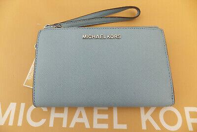 Michael Kors Jet Set Travel Large Double Zip Leather Smartphone Purse Wallet New