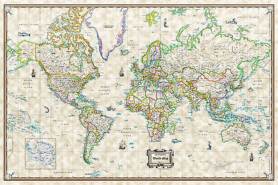 (Antique World Wall Map Poster Old World Style Modern Info - 36