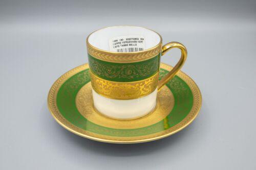 Bernardaud Limoges France Vergennes Green Demitasse Cup & Saucer Gold Encrusted