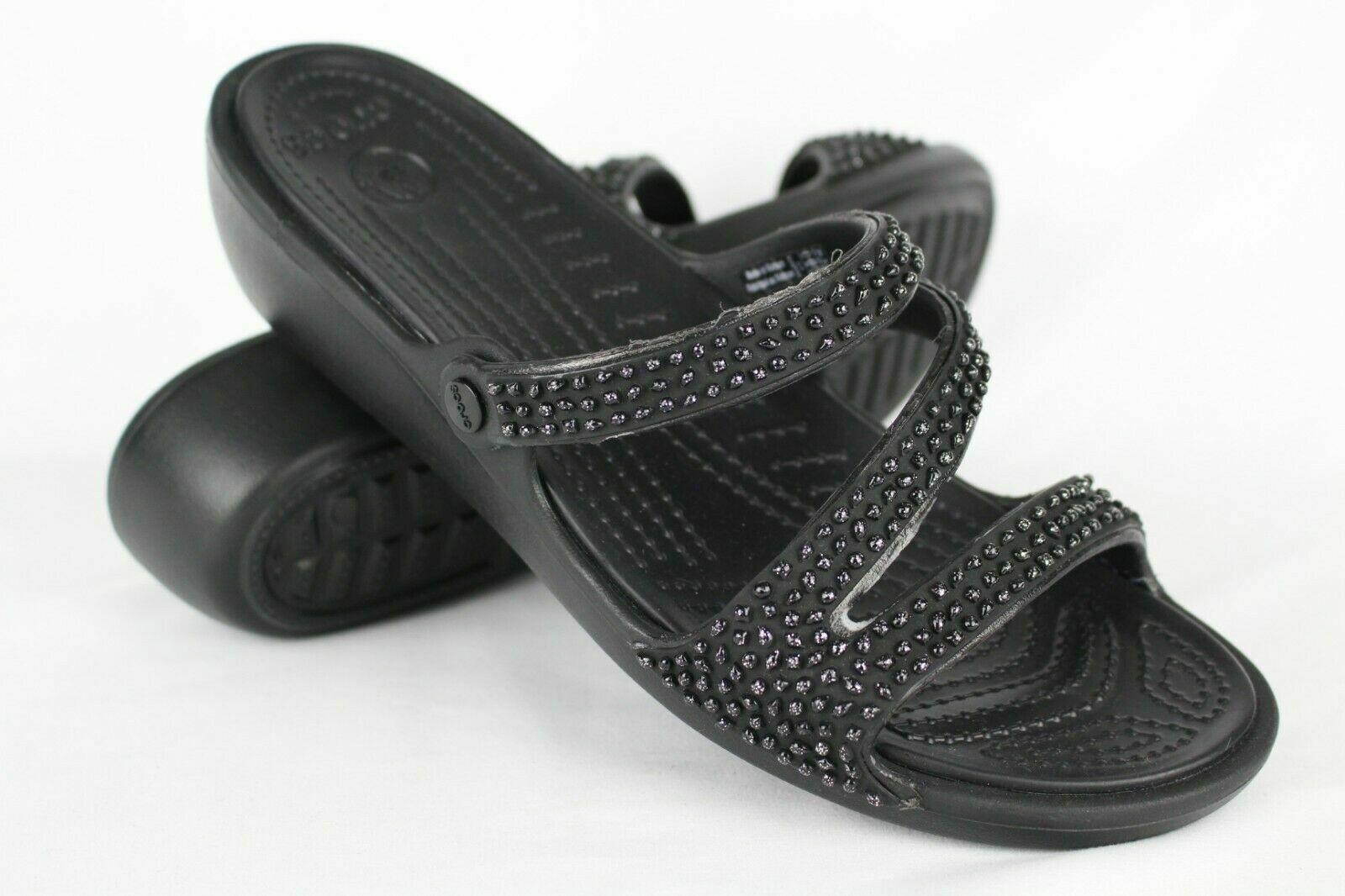 New Crocs Women's Patricia Diamante Wedge Slide Sandals 9 10