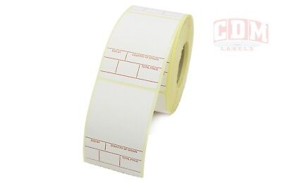 1 Colour Scale labels (Red), 49mm x 74mm 12 x Rolls, 6,000 Labels. FREE P&P.