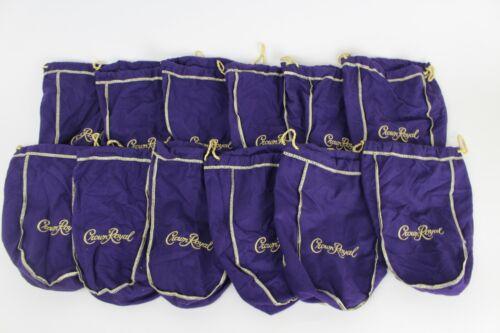 Lot of 12 Crown Royal Purple Gold Drawstring Bag Felt Quilt Sew Authentic Crafts