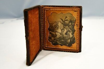 19th Century Orotone Napoleon Battle of the Pyramids Egypt in Leather Case