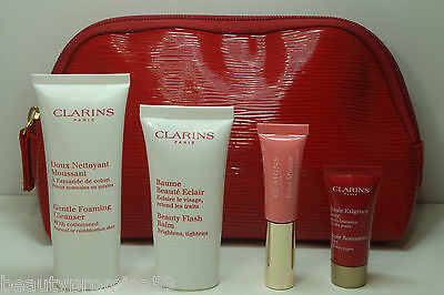 5PC Clarins Set w/ Cleanser, Beauty Flash Balm, Restorative, Lip Perfector & Bag