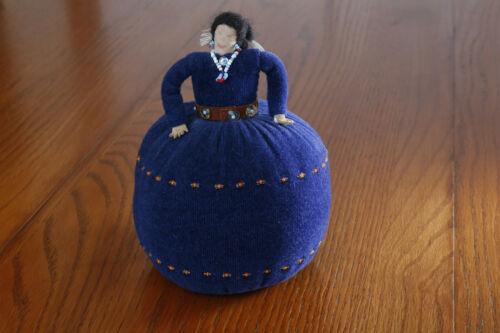 Navajo Pin Cushion Doll Hand Made Indian Girl Woman Sewing Native American