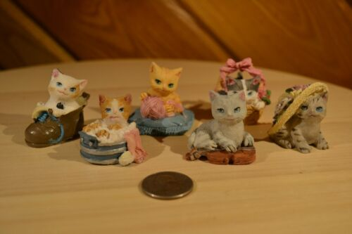 Lot of 6 Knickknacks KittycCat Vintage Teeny Tiny Decor Figures Figurines CUTE!