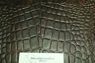 Dark Espresso Croc Cowhide Leather Print (Various Sizes) ZE1 FREE (Cowhide Print Gloves)
