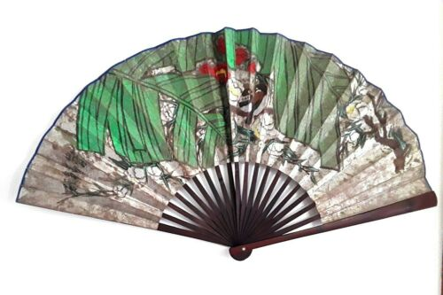 Vintage People Republic Of China  Large Fan Wall Hanging Art  2 Birds Floral
