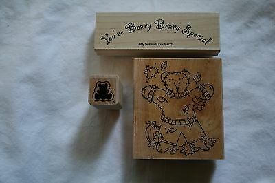 Lot of three wooden rubber stamps fall bear sayings holiday pumpkin - Fall Sayings