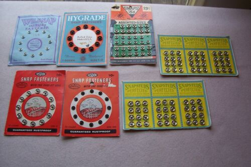 Vtg Antique collectible Cards of SNAP Fasteners BIG LOT sewing