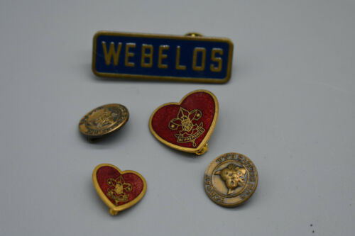 Lot of Five Boy Scout Tie/Hat Pins, 2 Bobcats, 1 Webelos, 2 Hearts.  Preowned.