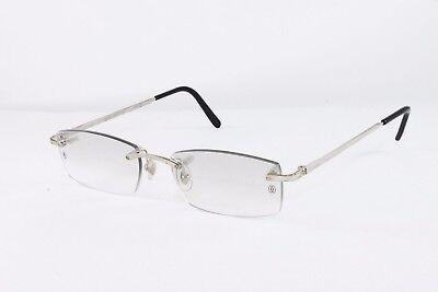 78392ff7790d Cartier Platinum Rimless Sunglasses T8100573 Grey Lens Authentic France New