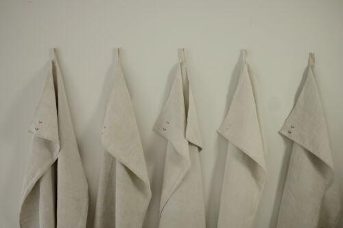Set of 5 Large Antique European Natural Linen Towels CC initials Monogram