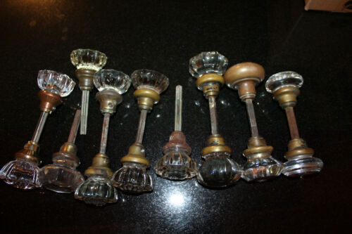 14 Vintage Crystal Glass Doorknobs ~ 1 Brass  ~ With Spindles ~