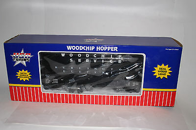 USA TRAINS G SCALE BURLINGTON ELECTRIC WOODCHIP HOPPER, EXCELLENT, BOXED