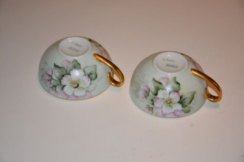 Lot of 2 Antique Hand Painted German Porcelain China Tea Cups and 3 Saucers