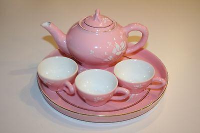 Vintage Child's Pink Porcelain/Ceramic Tea Set Excellent