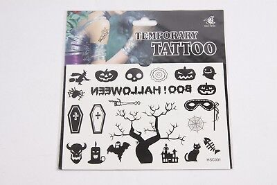 Pack Of 21 Temporary Tattoo's Halloween Themed Print Designs - Halloween Themed Tattoo
