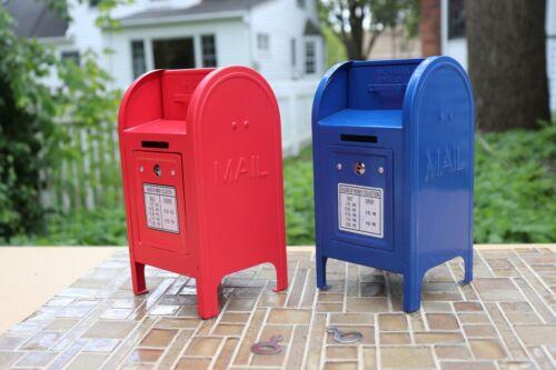 2 VTG Pressed Steel US Mailbox Piggy Banks with Keys